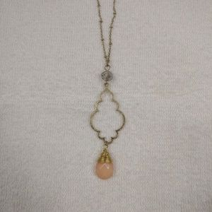 Gold coral gemstone wrapped long necklace
